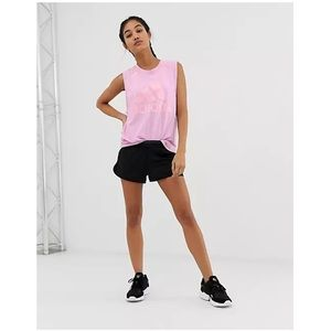 Adidas Pink Heathered Training Logo Sport Active Tank Top Muscle Tee XS